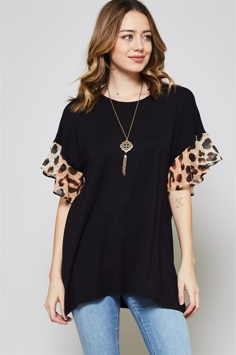 Picture of Curvy Cheetah Flutter Top