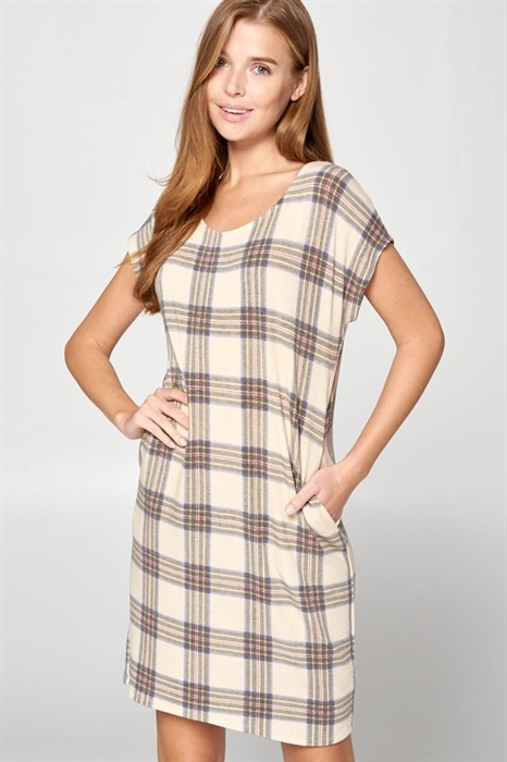 Picture of Tan Plaid Dress
