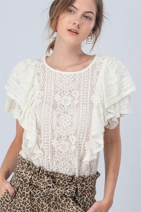 Picture of All Over Lace Ruffle Sleeve Top