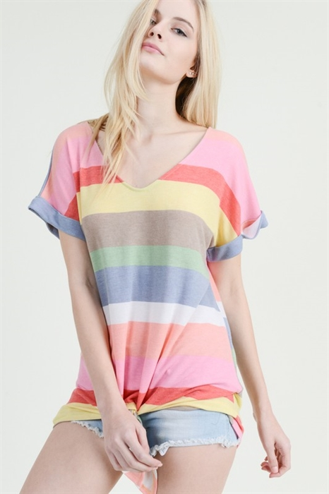 Picture of Angel Striped V-Neck Top