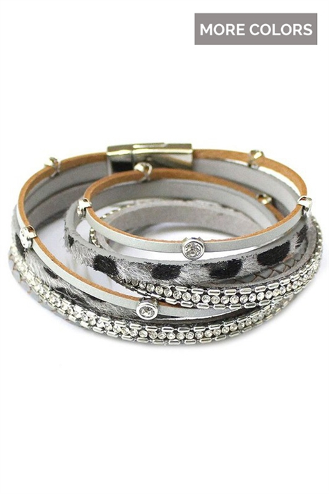 Picture of Faux Leather Leopard Wrap Bracelet